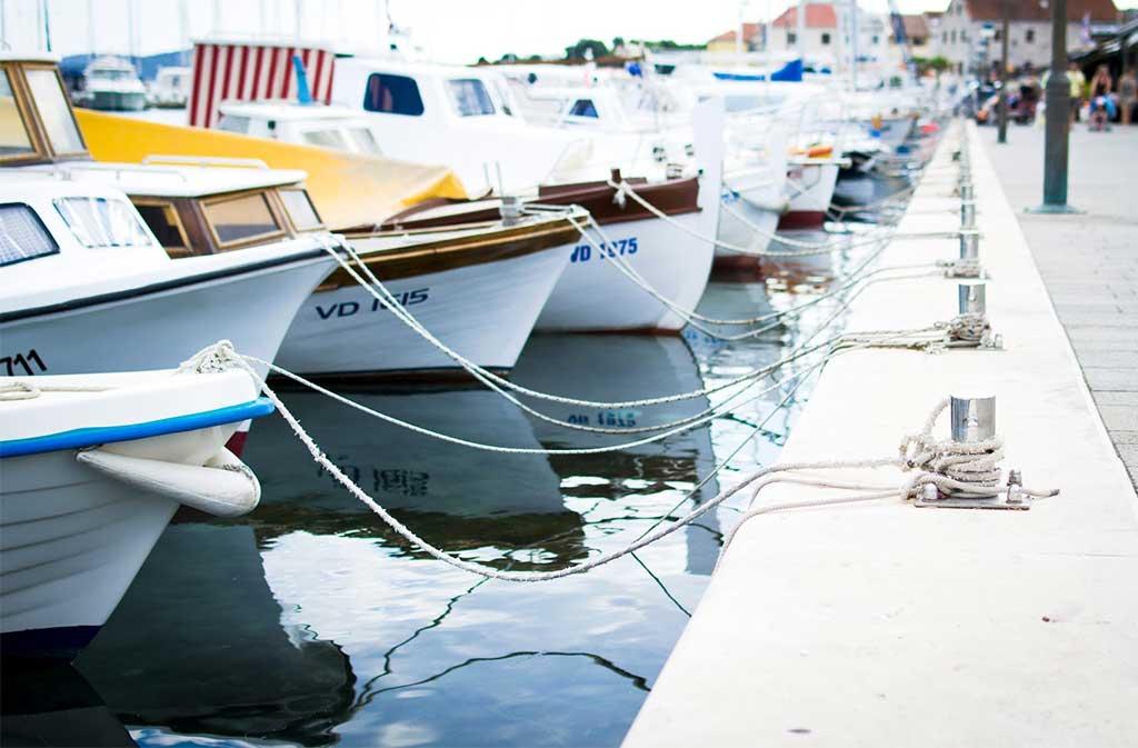 Boats docked at a boat ramp